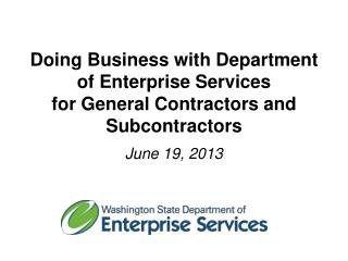 Doing Business with Department of Enterprise Services for General Contractors and Subcontractors
