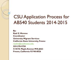 CSU Application Process for AB540  Students  2014-2015