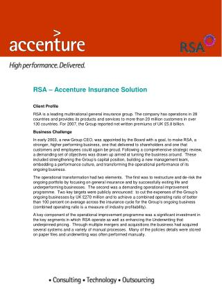 RSA – Accenture Insurance Solution Client Profile