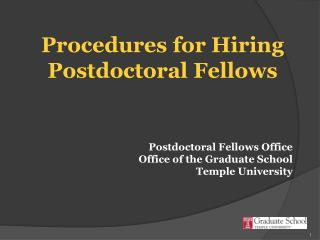 Procedures for Hiring Postdoctoral Fellows