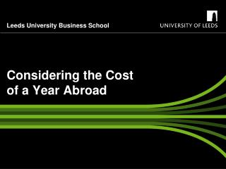 Considering the Cost of a Year Abroad
