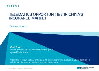 TELEMATICS OPPORTUNITIES IN CHINA'S INSURANCE  MARKET