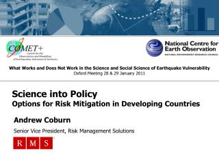 Science into Policy Options for Risk Mitigation in Developing Countries