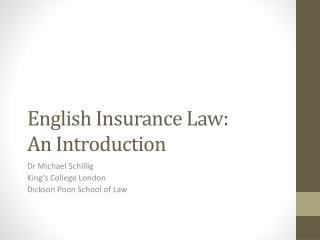 English Insurance Law: An Introduction