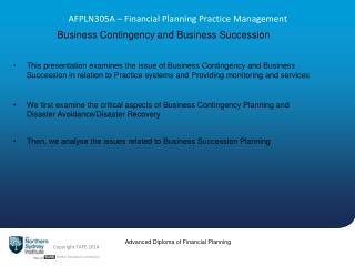 AFPLN305A  – Financial Planning Practice Management
