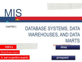 DATABASE SYSTEMS, DATA WAREHOUSES, AND DATA MARTS