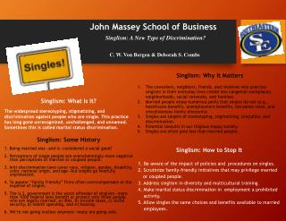 John Massey School of Business Singlism:  A New Type of Discrimination? C . W. Von Bergen & Deborah S. Combs