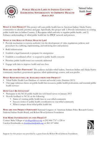 Public Health Laws in Indian Country – Exercising Sovereignty to Improve Health March 2013