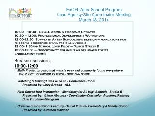ExCEL After School Program Lead Agency/Site Coordinator Meeting March 18, 2014