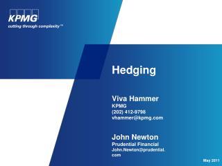 Hedging  Viva Hammer KPMG (202) 412-9798 vhammer@kpmg.com John Newton Prudential Financial  John.Newton@prudential.com