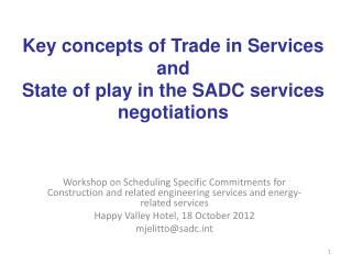 Workshop  on  Scheduling Specific Commitments for Construction and related  engineering services and energy-related ser