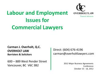 Labour and Employment Issues for  Commercial Lawyers