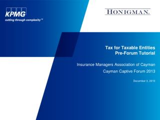 Tax for Taxable Entities  Pre-Forum Tutorial