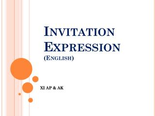 Invitation Expression (English)