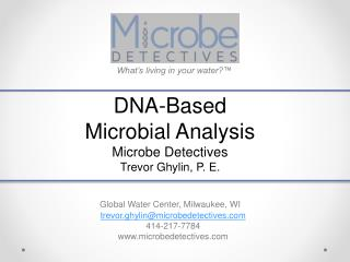 DNA-Based Microbial Analysis  Microbe Detectives Trevor Ghylin, P. E .