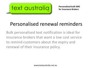 Personalised  renewal reminders