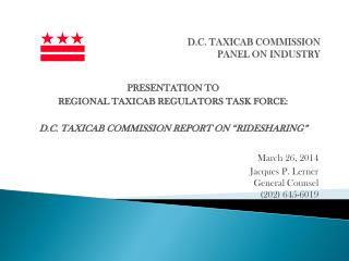 D.C . TAXICAB  COMMISSION panel on industry