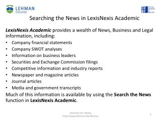 Searching  the News in  LexisNexis Academic