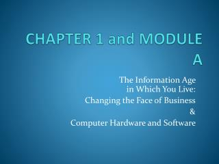 CHAPTER 1 and MODULE A