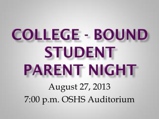 College - Bound Student Parent Night