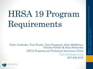 HRSA 19 Program Requirements