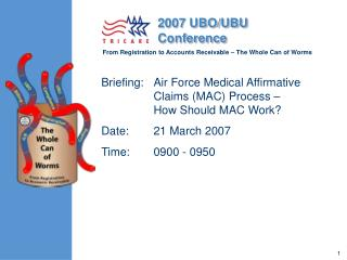 Briefing: Air Force Medical Affirmative Claims MAC Process   How Should MAC Work Date:  21 March 2007 Time:  0900 - 0950