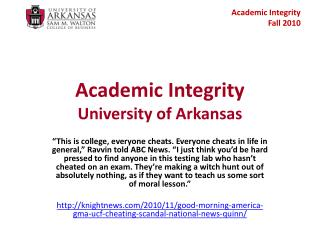 Academic Integrity University of Arkansas