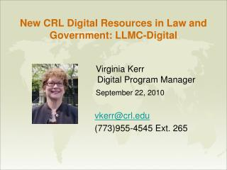 New CRL Digital Resources in Law and Government: LLMC-Digital