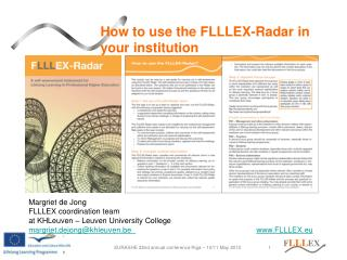 How to use the FLLLEX-Radar in your institution