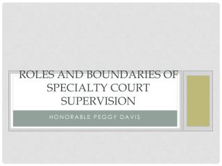 Roles and Boundaries of Specialty Court Supervision