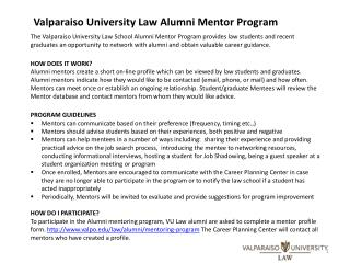 Valparaiso University Law Alumni Mentor Program