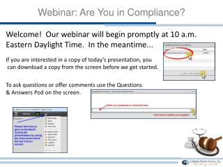 Webinar: Are You in Compliance?