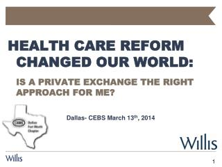 Health Care Reform Changed our World: Is a Private Exchange the Right Approach for Me?