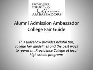 Alumni Admission Ambassador College Fair Guide