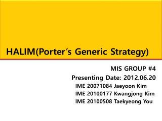 HALIM(Porter�s Generic Strategy)