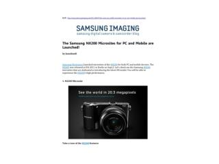 The Samsung NX200 Microsites for PC and Mobile are Launched!