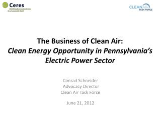 The Business of Clean Air: Clean Energy Opportunity in Pennsylvania's Electric Power Sector