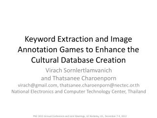 Keyword Extraction and Image Annotation Games to Enhance the Cultural Database Creation