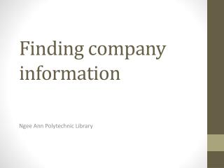 Finding company information