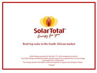 Roof top solar in the South African market
