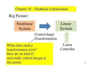 Chapter 10 – Feedback Linearization