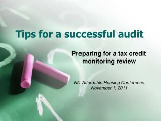 Tips for a successful audit