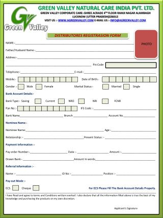 DISTRIBUTORES REGISTRASION FORM
