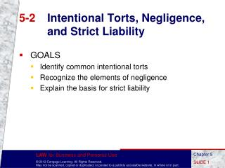 5-2	 Intentional Torts, Negligence, and Strict Liability