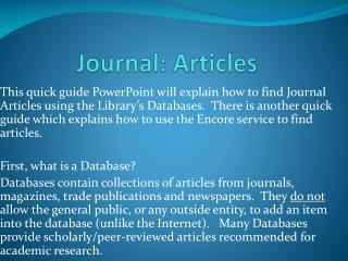 Journal: Articles