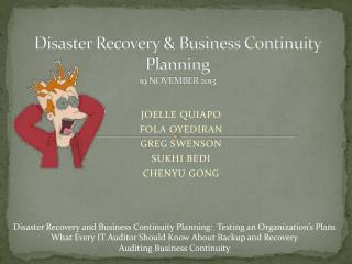 Disaster Recovery & Business Continuity Planning 19 NOVEMBER 2013