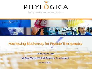 Harnessing Biodiversity for Peptide Therapeutics