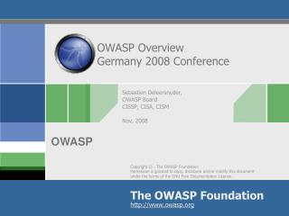 OWASP Overview Germany 2008 Conference