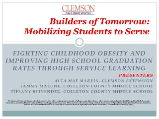 Builders  of Tomorrow:  Mobilizing Students to Serve