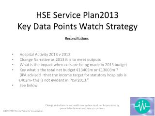 HSE Service Plan2013 Key Data Points Watch Strategy